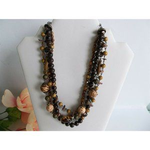 PD Premier Designs Necklace 4 Strand Browns Fall